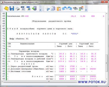 STOL программа для  расчёта  воздухообмена предприятий общественного питания.